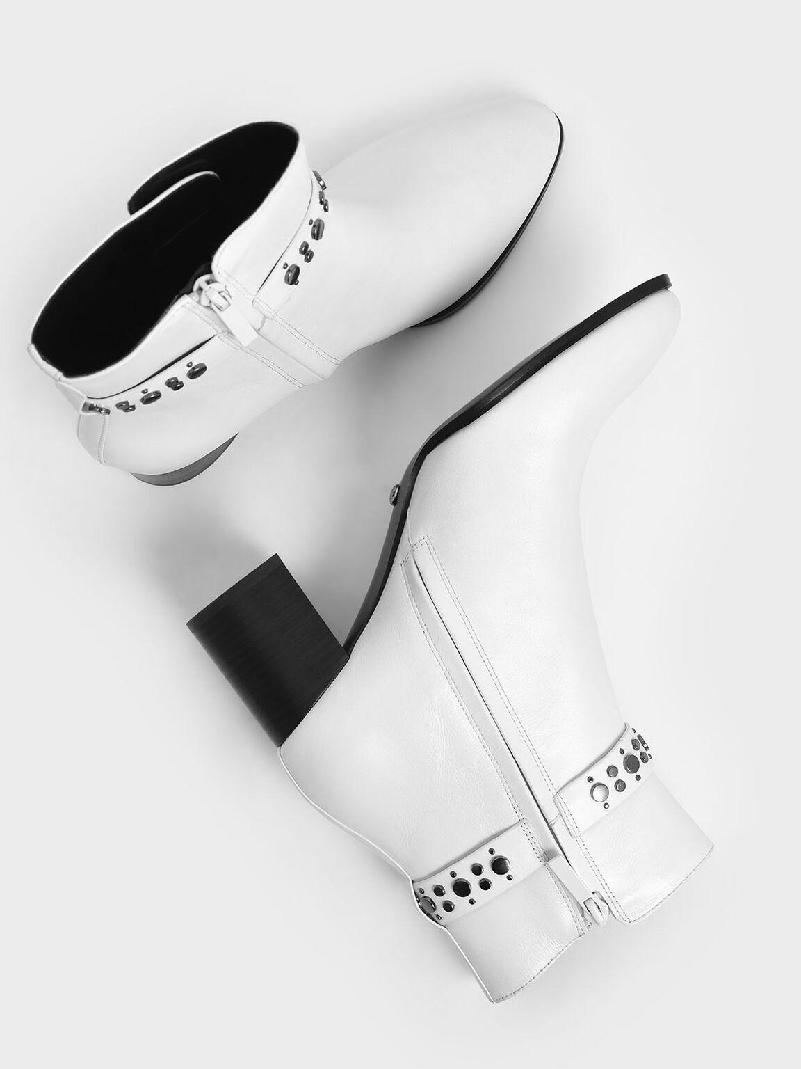 真皮鉚釘短靴, 白色, hi-res
