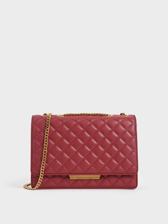 Quilted Chain Strap Shoulder Bag, Red, hi-res
