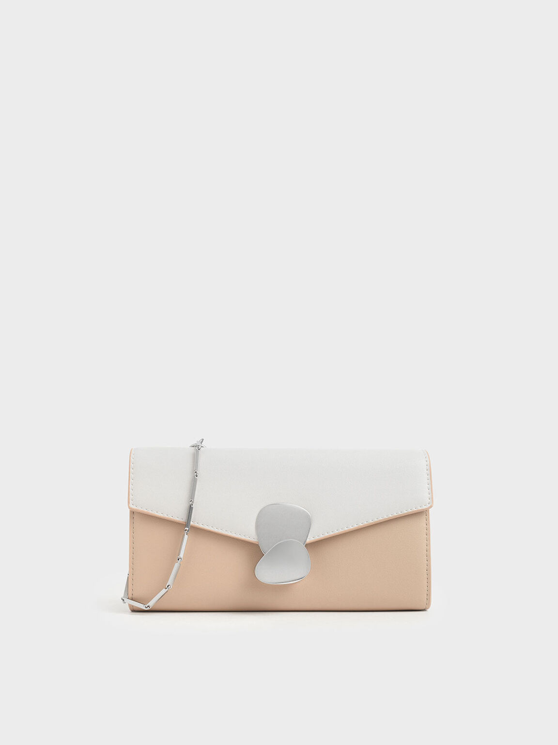 Mini Two-Tone Metal Push Lock Wallet, Cream, hi-res
