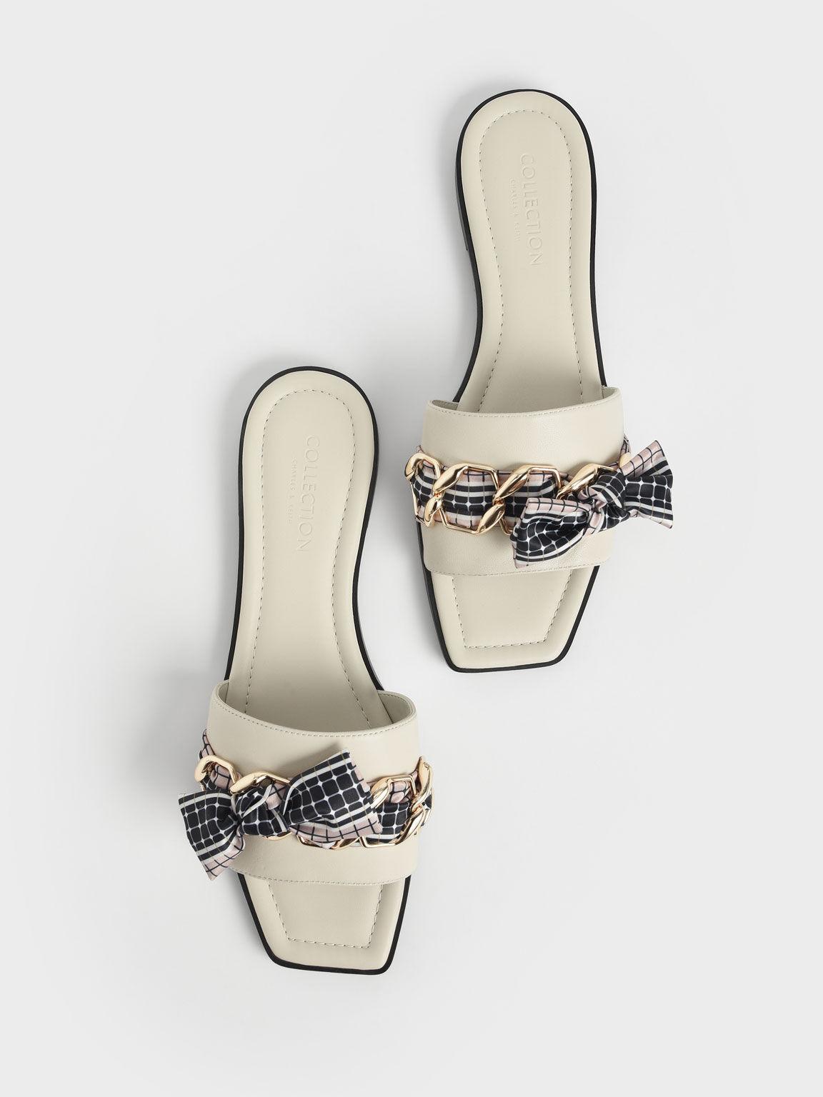 Printed Fabric Scarf Leather Slide Sandals, Chalk, hi-res