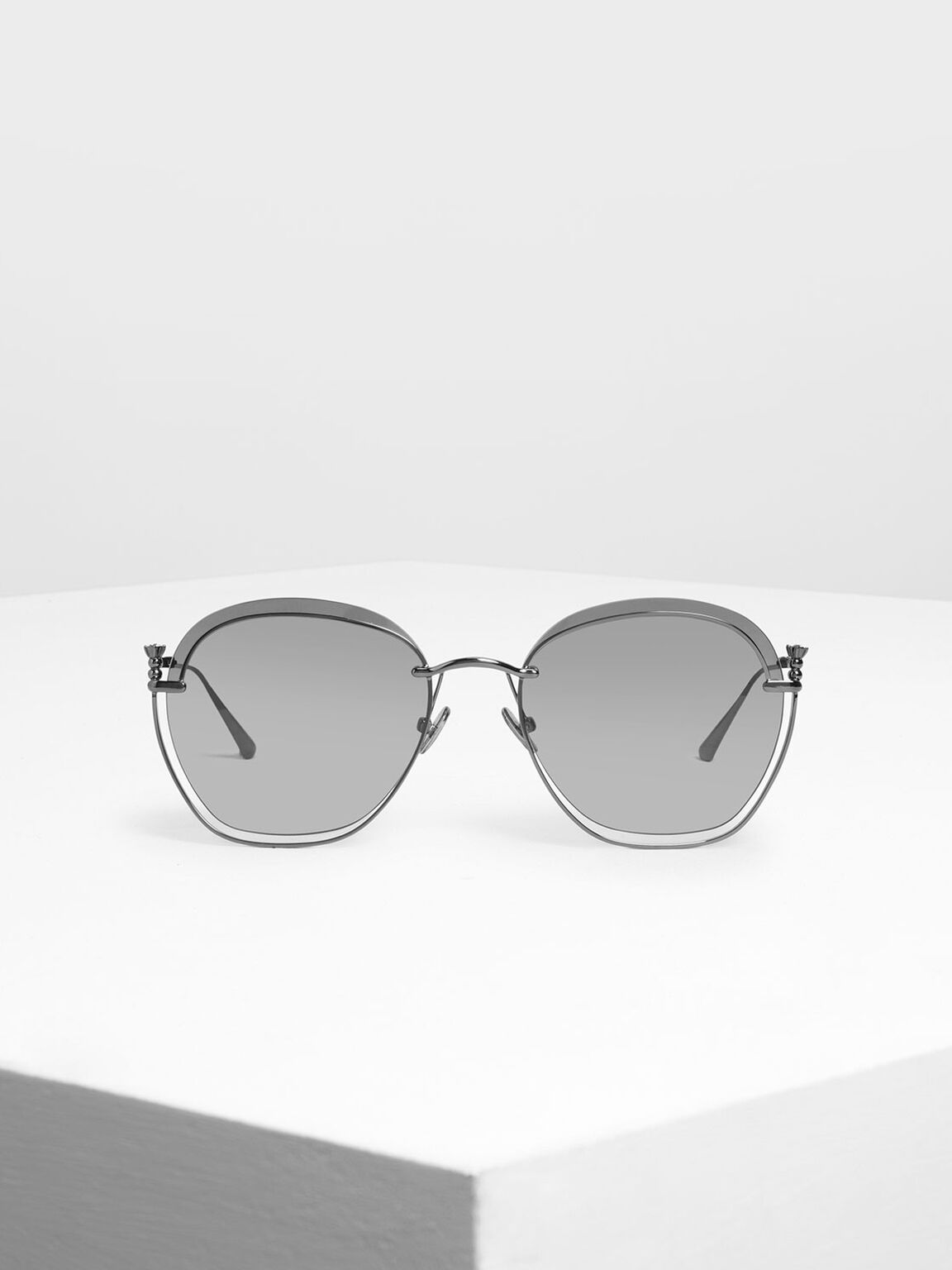 Cut Out Butterfly Sunglasses, Black, hi-res