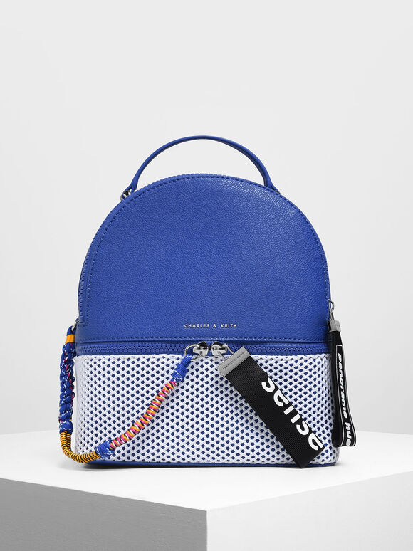 Two-Way Zip Mesh Detail Backpack, Blue, hi-res
