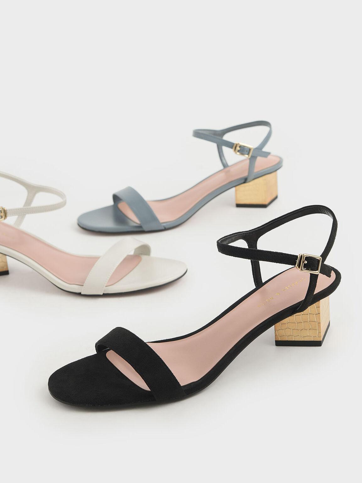 Sculptural Chrome Heel Textured Sandals, Black, hi-res