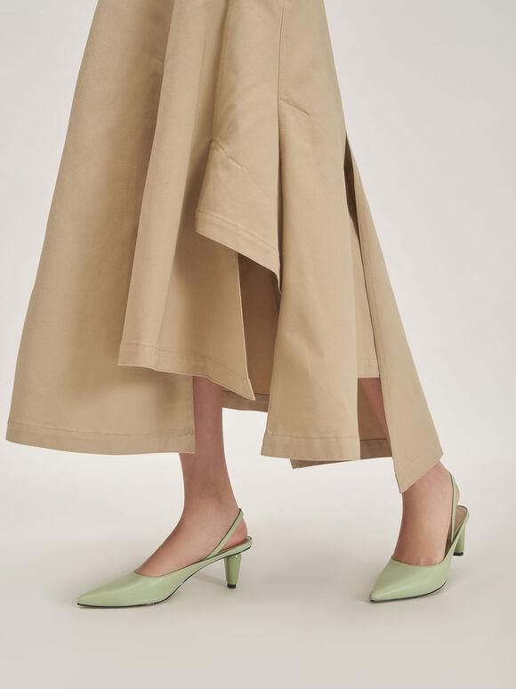 真皮後踝帶跟鞋, 綠色, hi-res