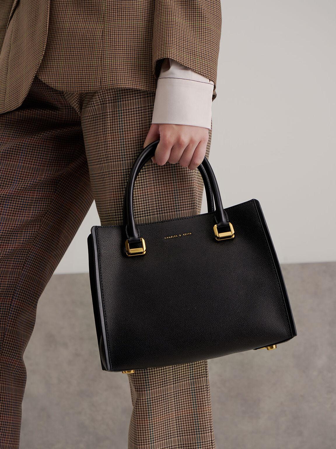 Large Double Handle Bag, Black, hi-res