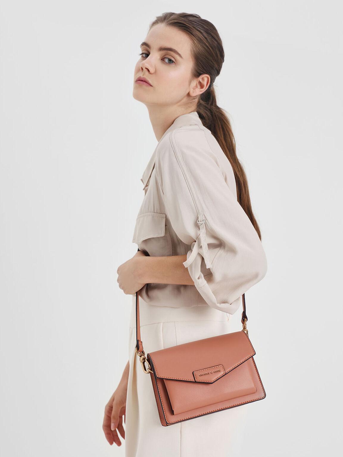 Front Flap Crossbody Bag, Clay, hi-res