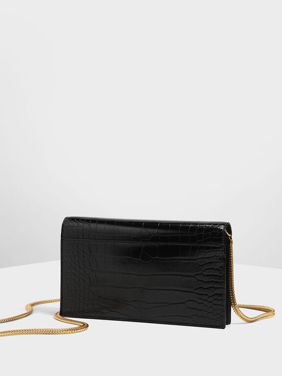 Croc-Effect Turn-lock Wallet, Black Textured