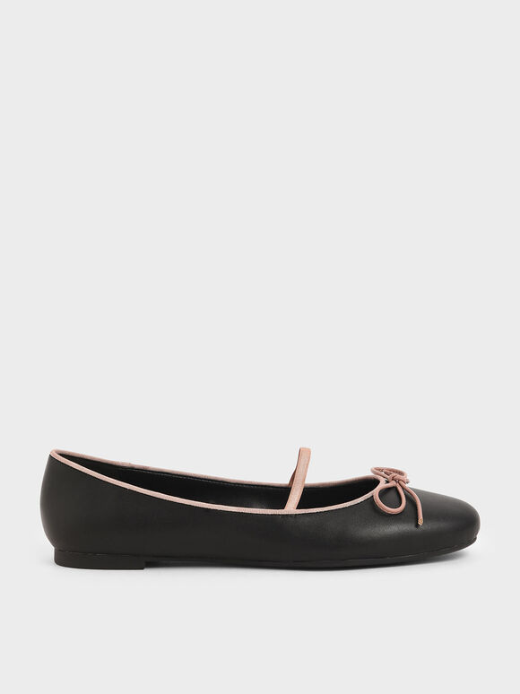 Ribbon Tie Mary Jane Ballerina Flats, Black, hi-res