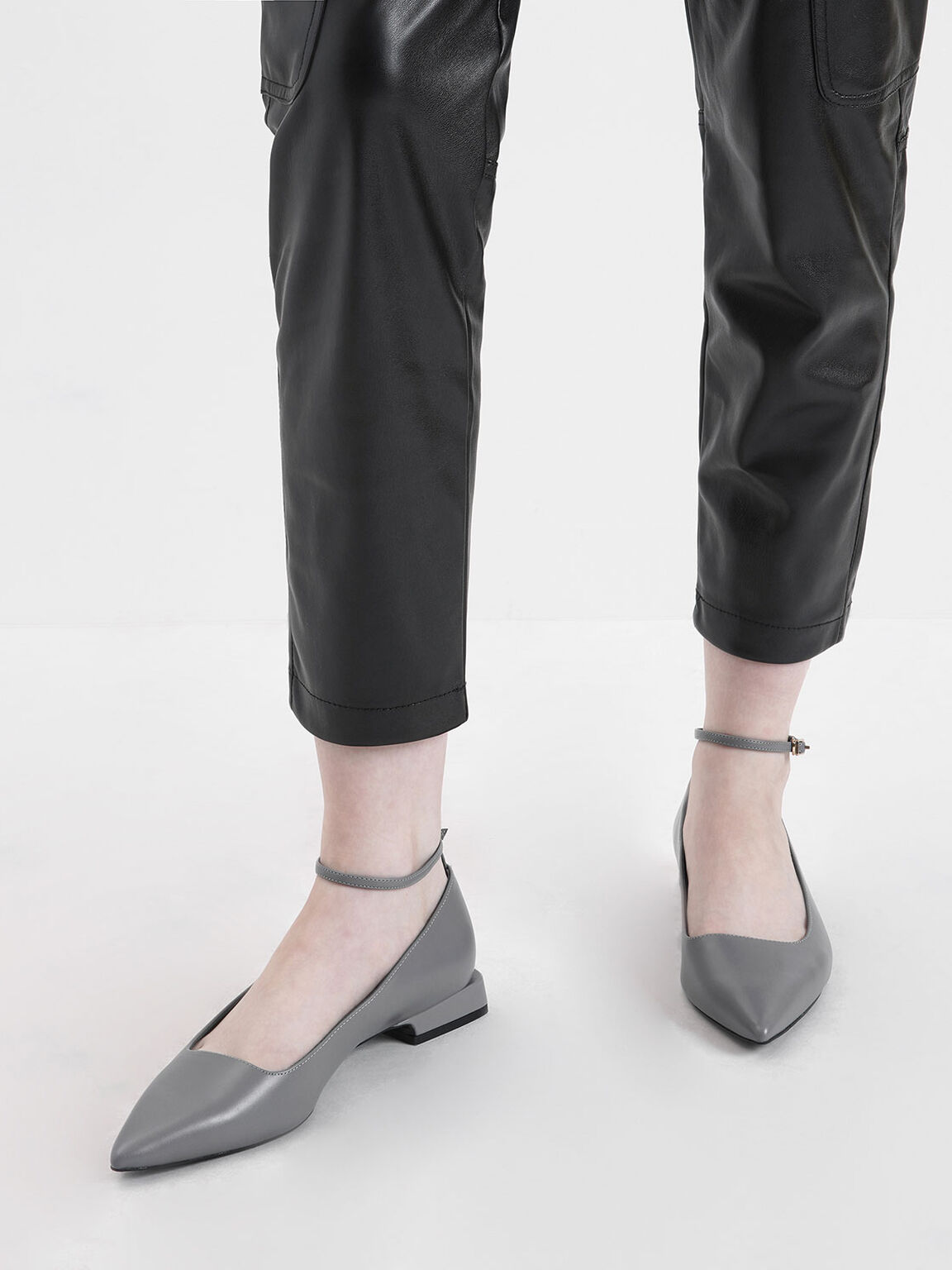Ankle Strap Flats, Grey, hi-res