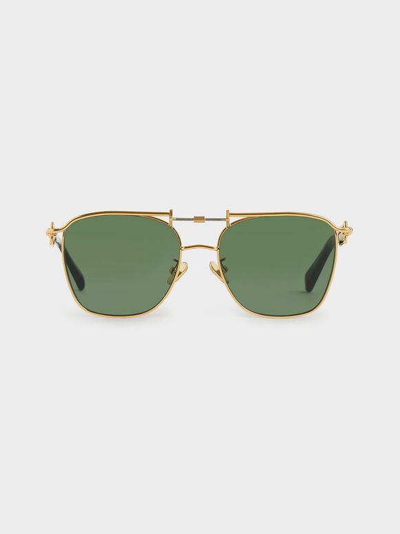 Square Double Bridge Sunglasses, Olive, hi-res