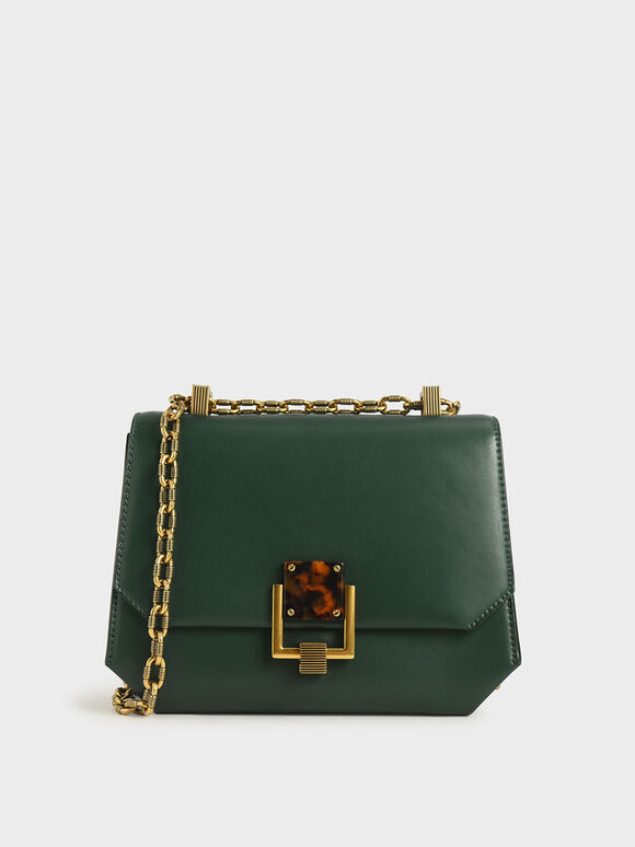 Chain Handle Geometric Crossbody Bag, Green, hi-res