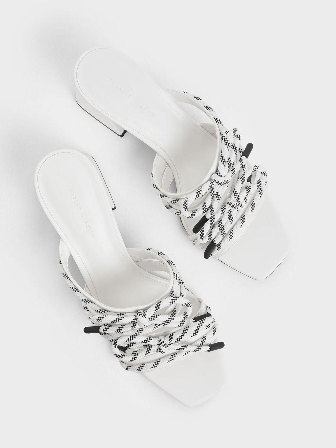 Nylon Lace Strap Slide Sandals, White, hi-res
