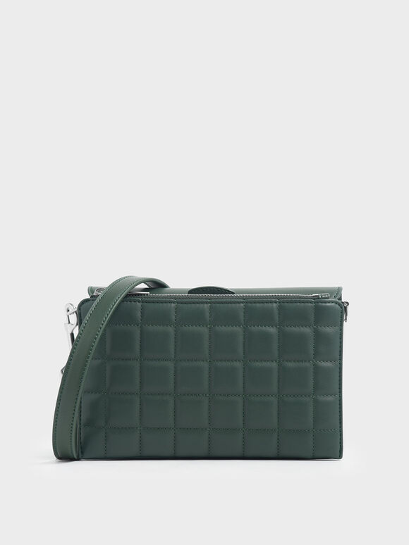 Removable Quilted Pouch Boxy Shoulder Bag, Dark Green, hi-res