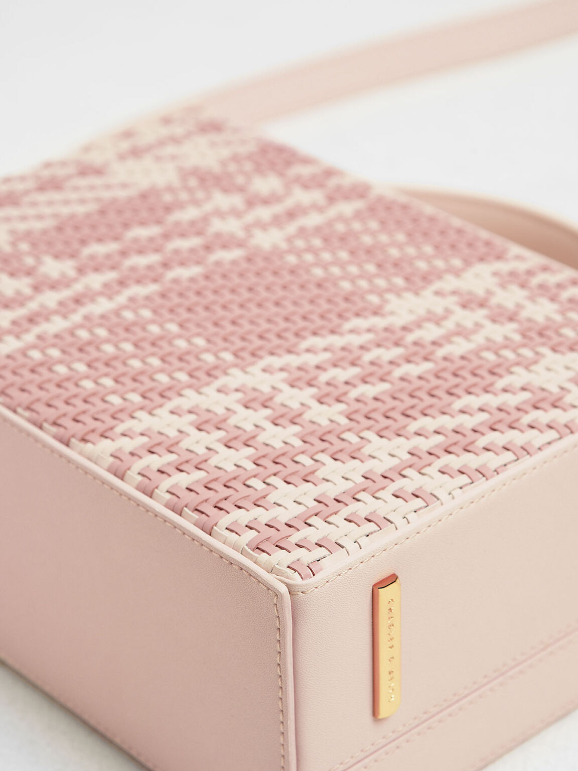 Woven Boxy Bag, Light Pink, hi-res