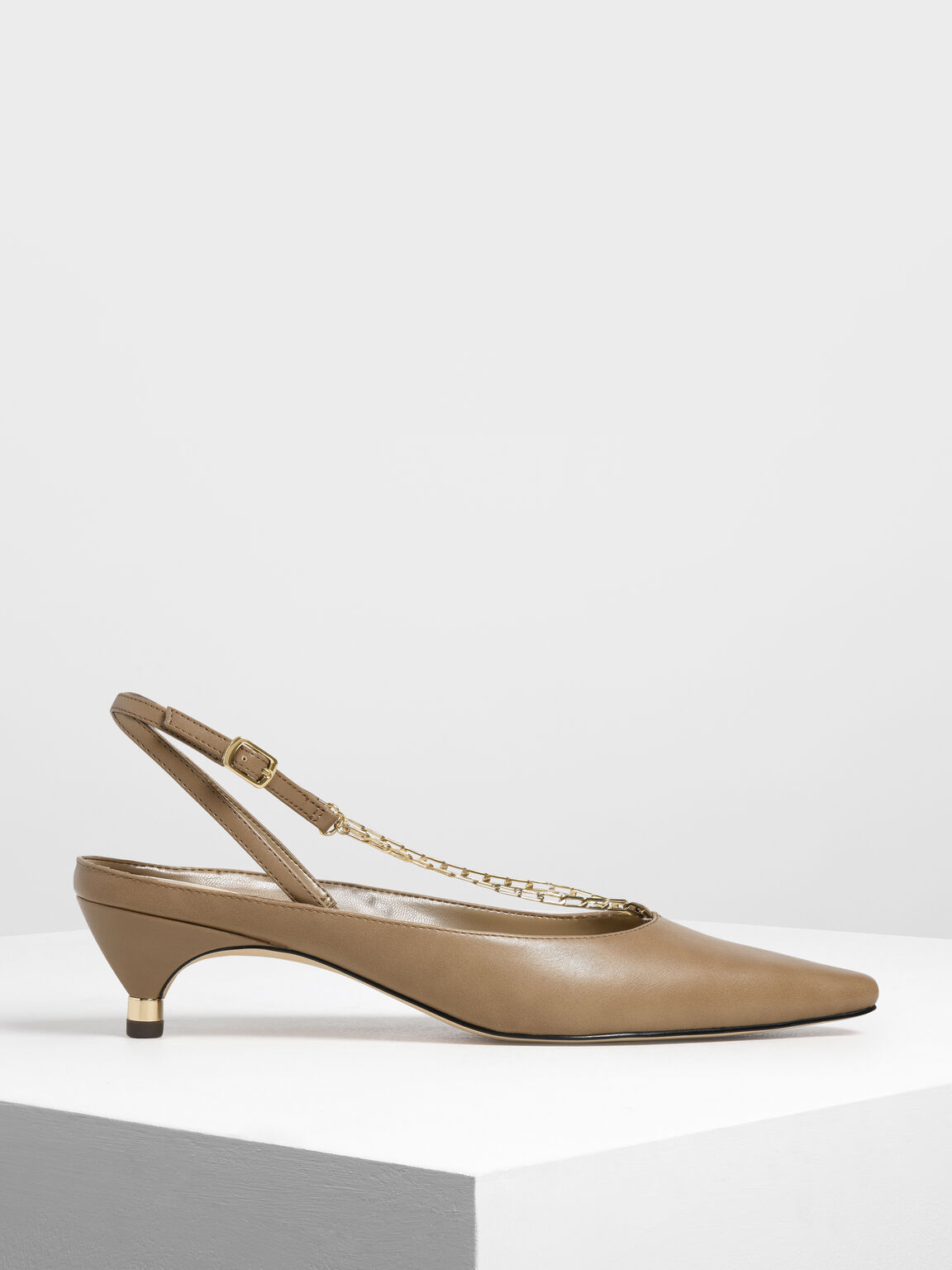Gold Chain Detail Kitten Heel Pumps, Brown, hi-res