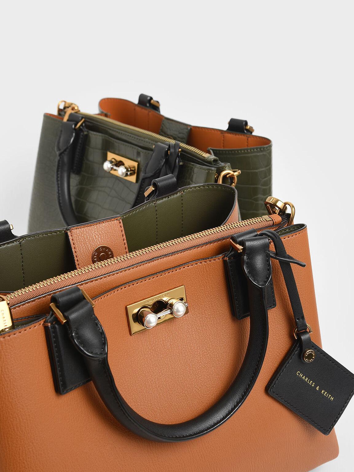 Classic Large Structured Bag, Tan, hi-res