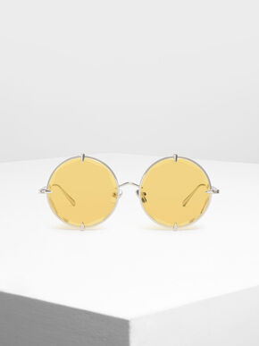 Round Wire Frame Skinny Sunglasses, Yellow