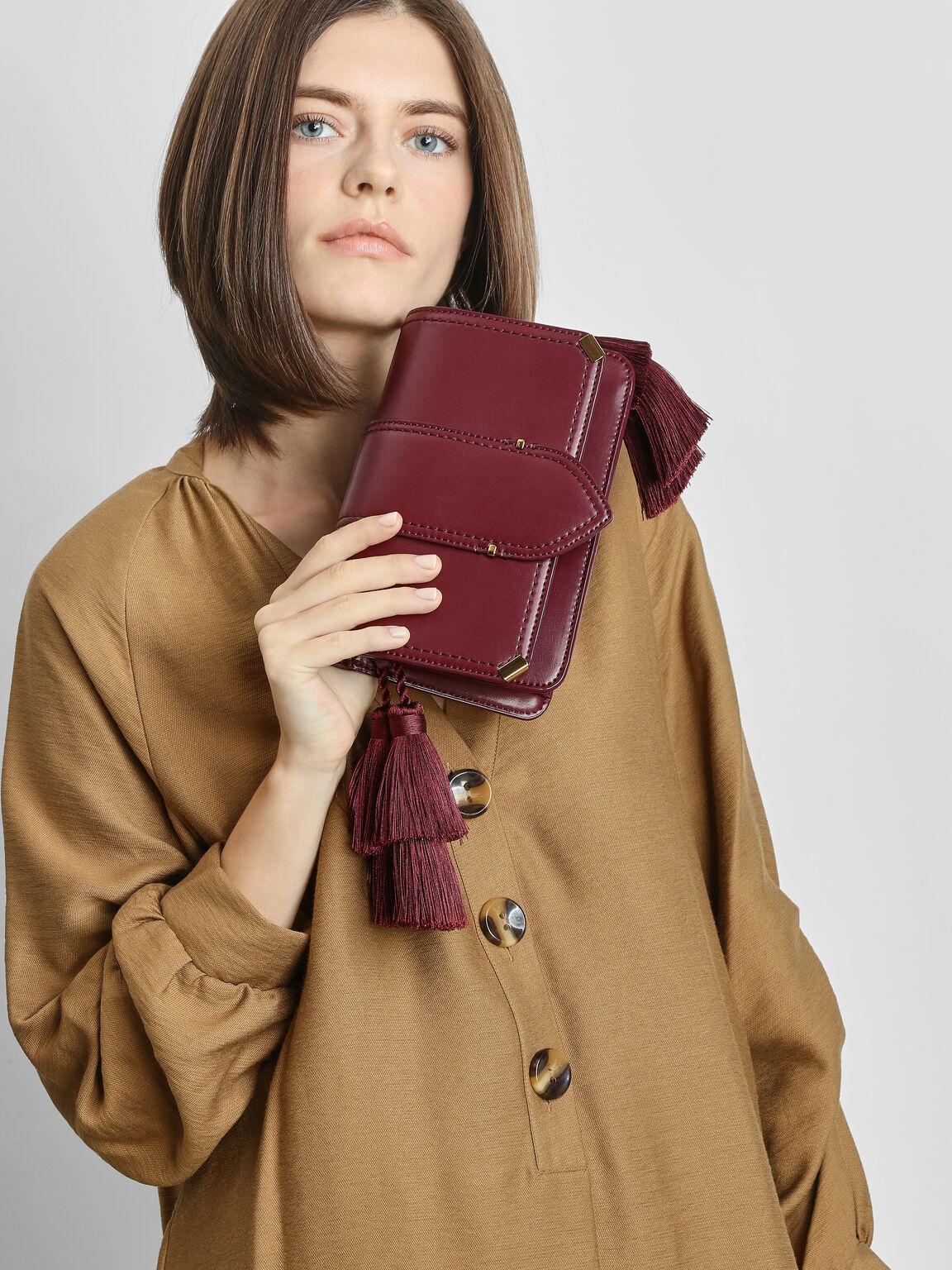 Tassel Shoulder Bag, Prune, hi-res