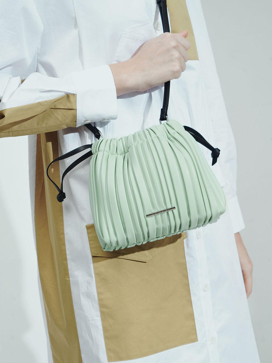 Pleated Drawstring Bag, Mint Green, hi-res