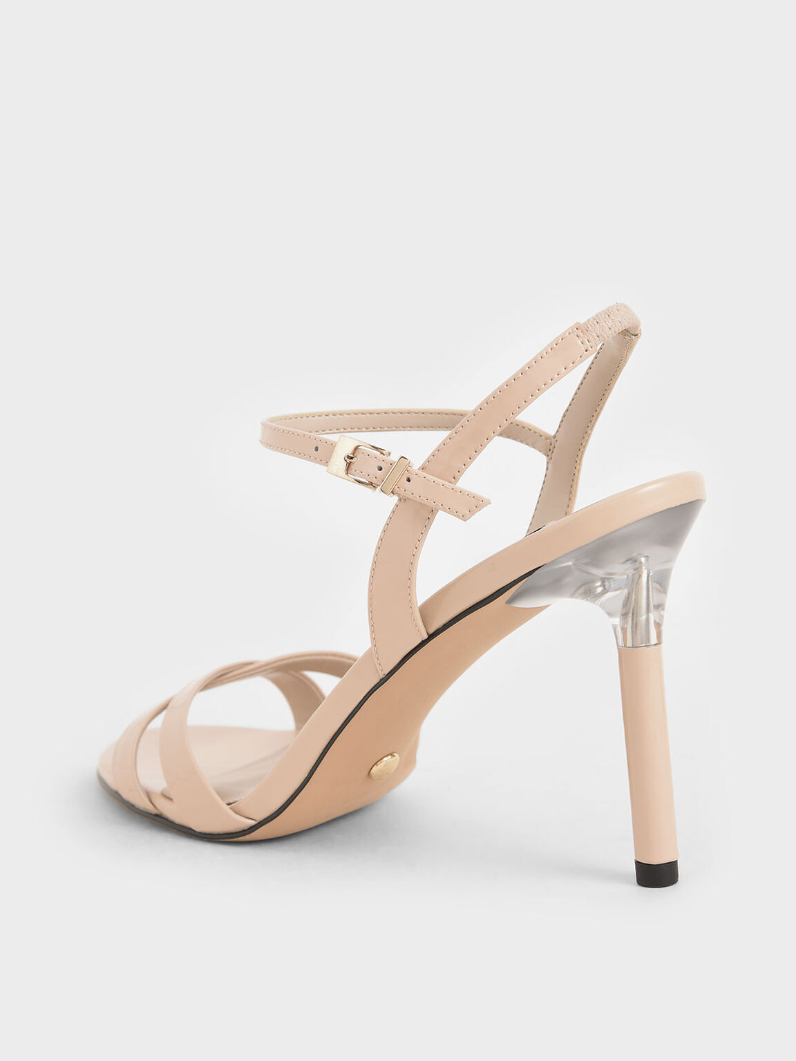 Patent Leather Criss-Cross Heels, Light Pink, hi-res