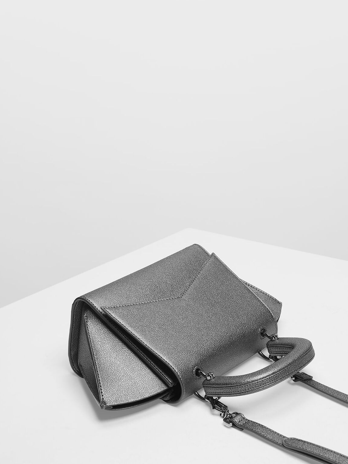 Geometric Structured City Bag, Pewter, hi-res