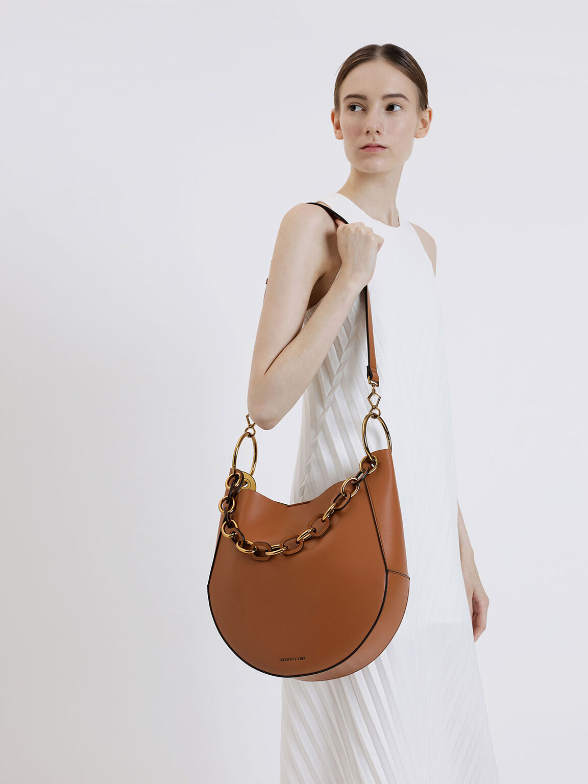Chunky Chain Link Large Hobo Bag, Tan, hi-res