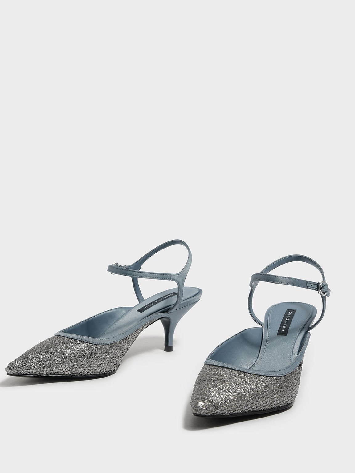 Sequined Pointed Heels, Silver, hi-res