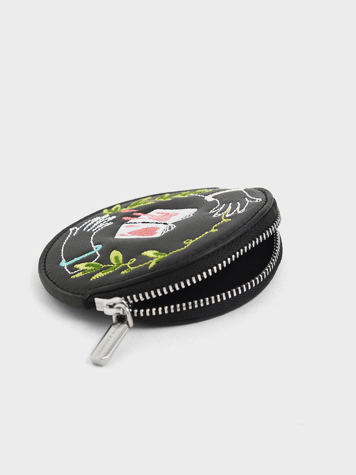 CHARLES & KEITH By Teeteeheehee: Embroidered Round Pouch, Black, hi-res