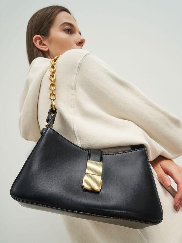 Chain Handle Shoulder Bag, Black, hi-res