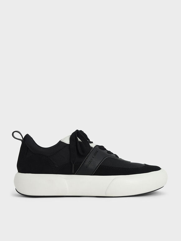 Textured Low Top Sneakers, Black, hi-res