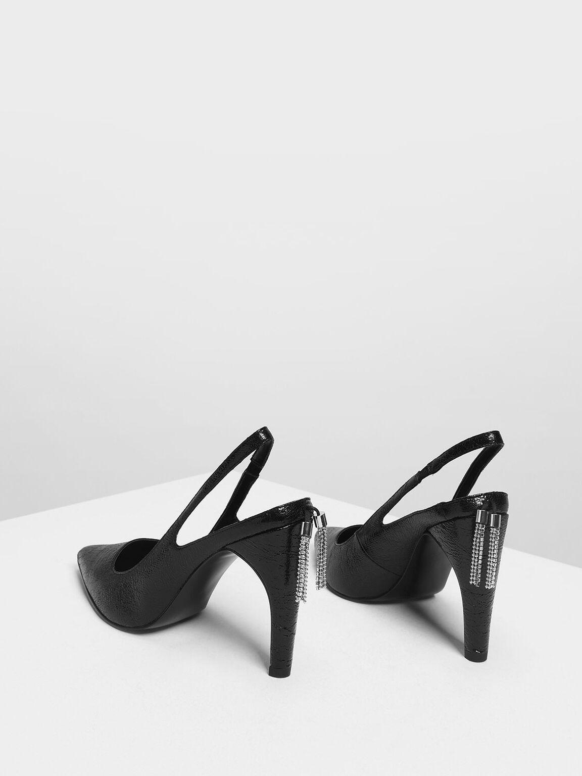 Embellished Tassel Slingback Heels, Black, hi-res