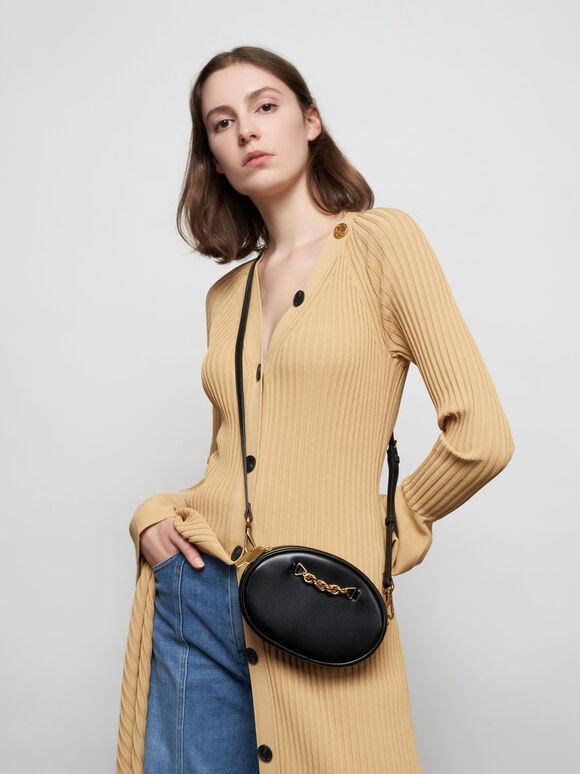 Chain-Embellished Oval Crossbody Bag, Black, hi-res
