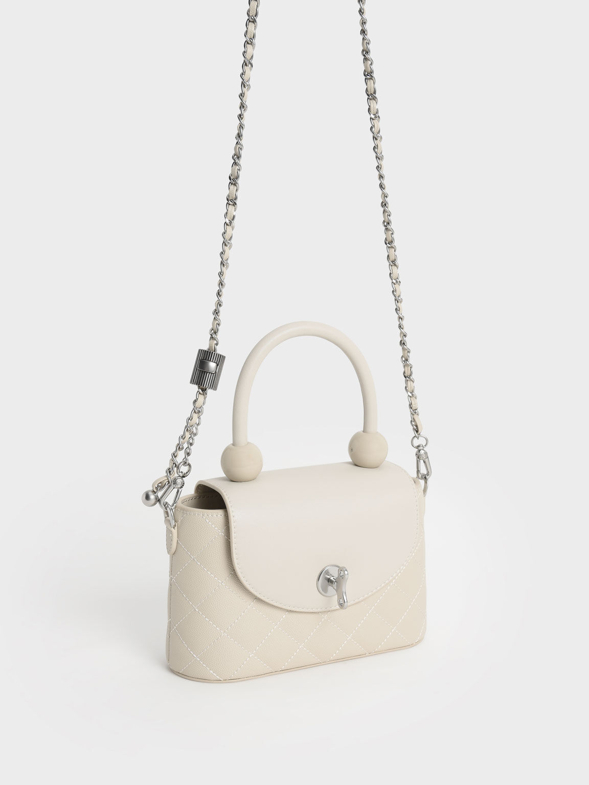 Top Handle Circle Bag, Cream, hi-res