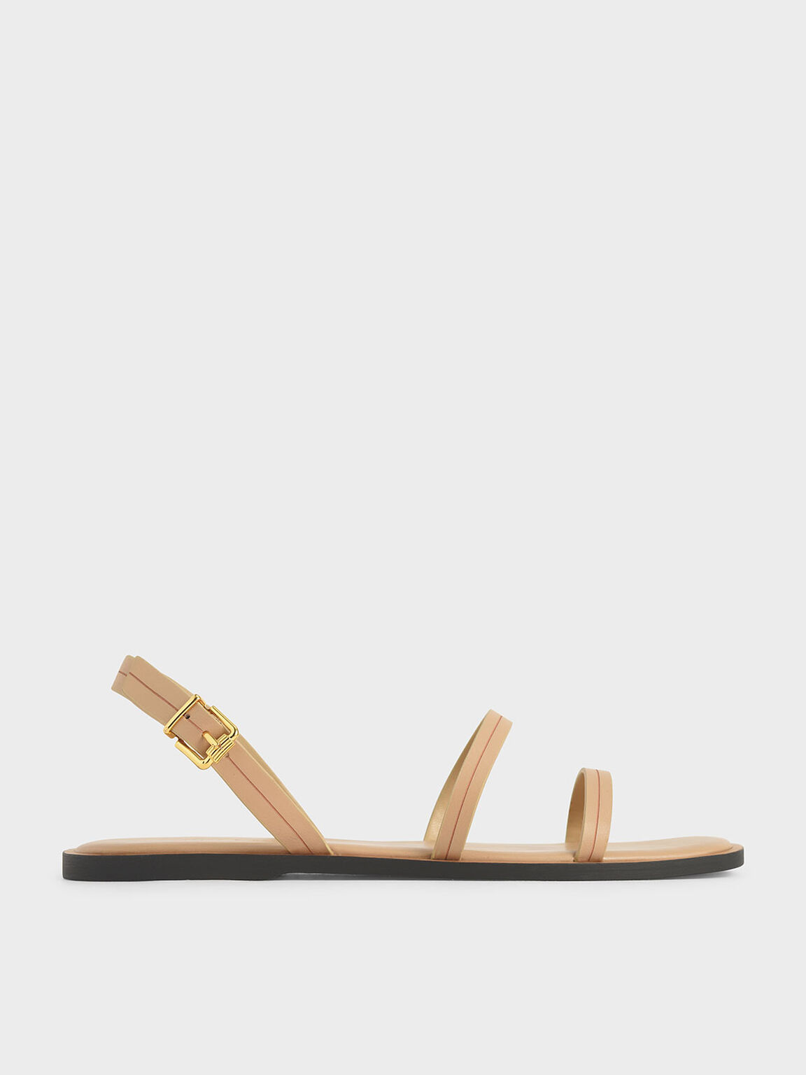 Double Strap Slingback Flats, Nude, hi-res