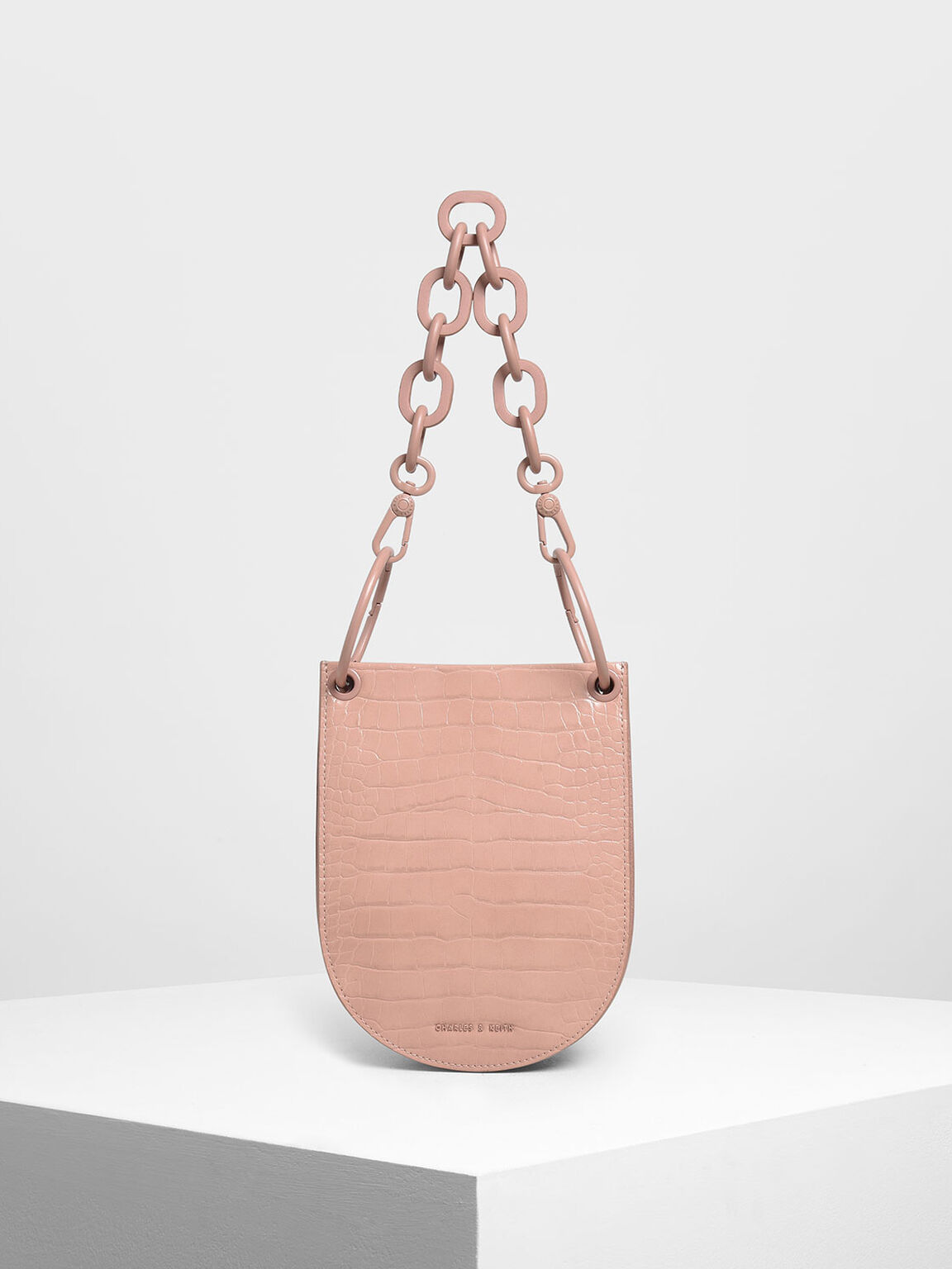 Croc-Effect Chunky Chain Handle U-Shaped Bag, Pink, hi-res