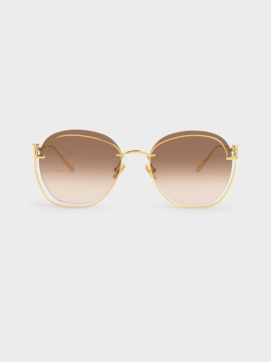 Cut-Out Butterfly Sunglasses, Gold, hi-res