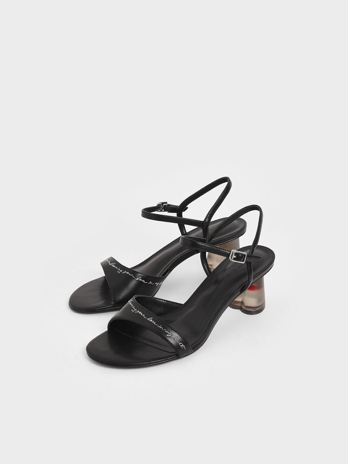 Embroidered Lucite Sculptural Heel Sandals, Black, hi-res