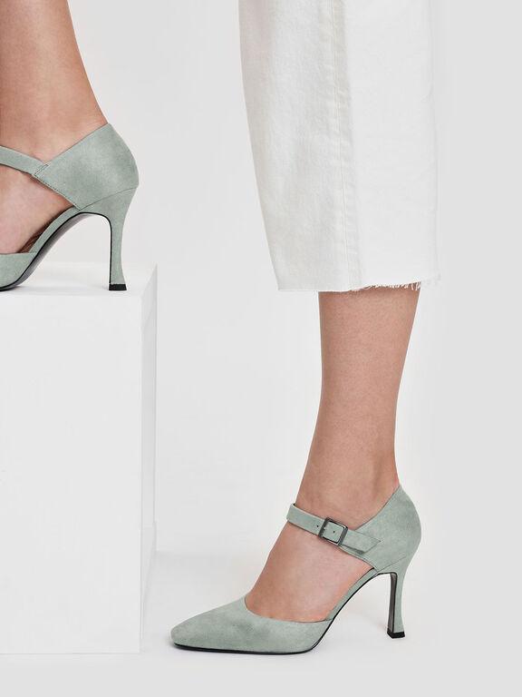 Sculptural Heel Mary Janes, Mint Green, hi-res