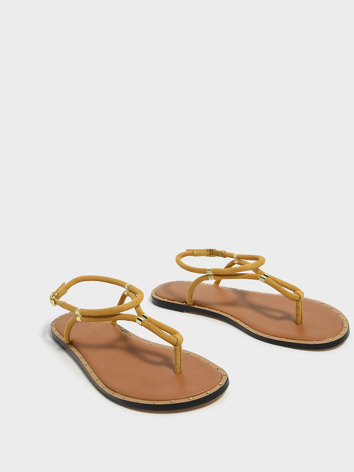 Gold Accents Thong Sandals, Yellow, hi-res