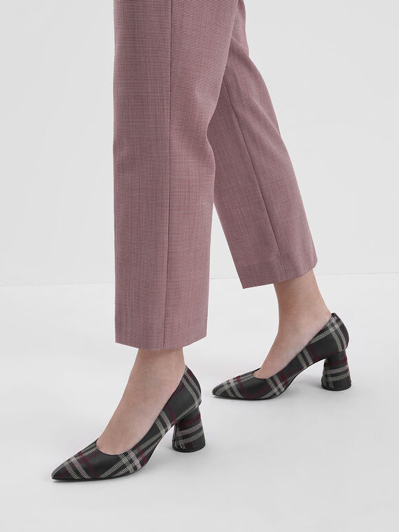 車縫格紋粗跟鞋, 黑色特別款, hi-res