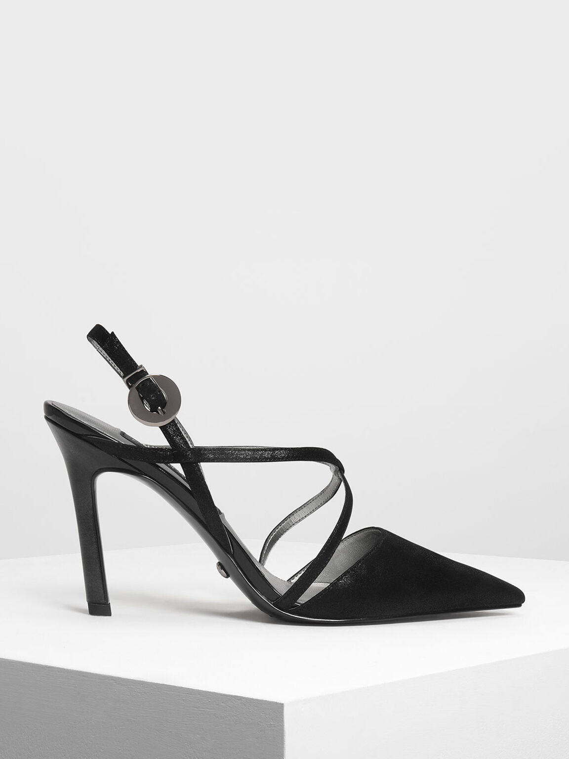 Strappy Criss Cross Leather Heels, Black, hi-res