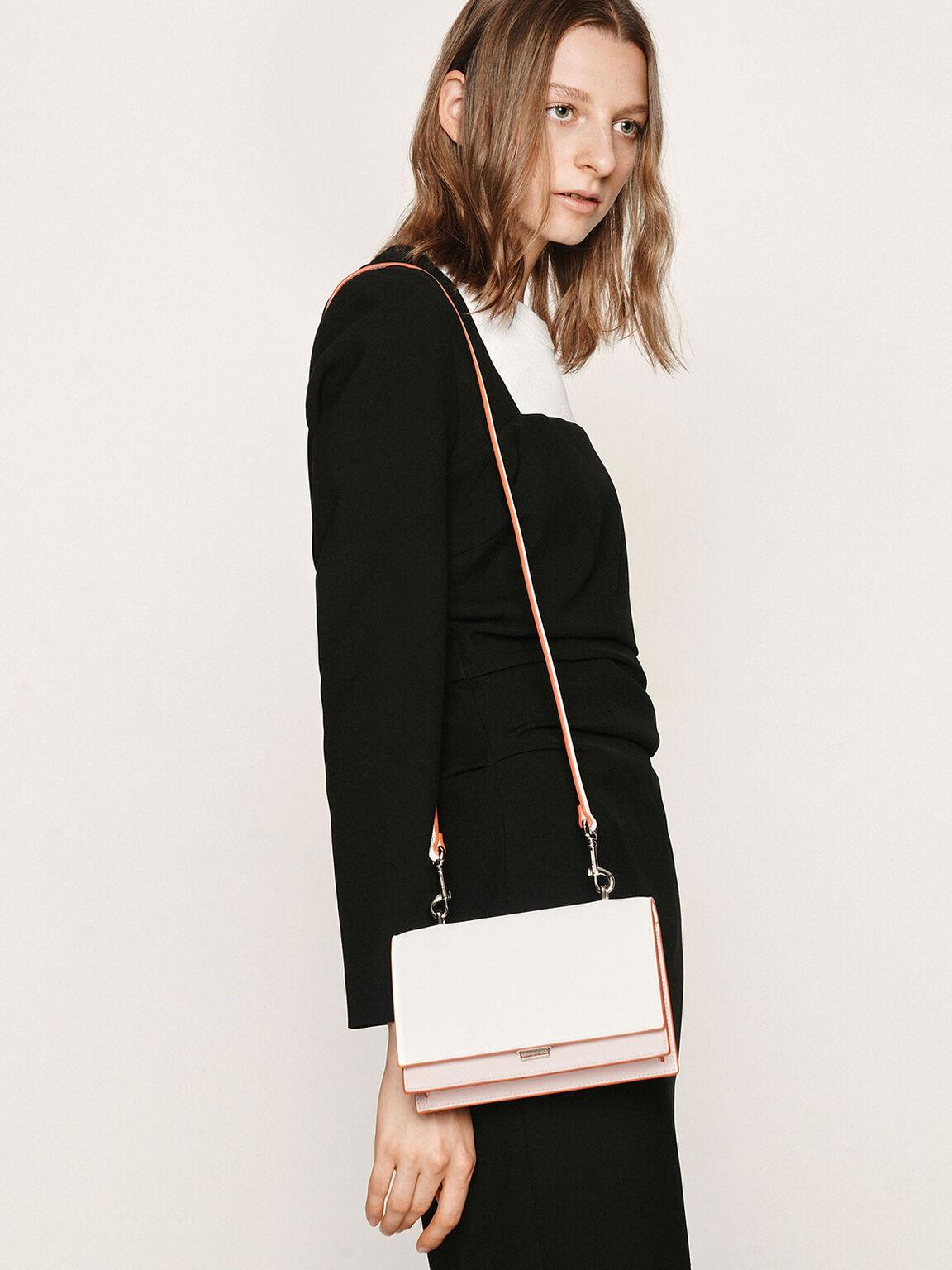 經典鍊條肩背包, 淺粉色, hi-res