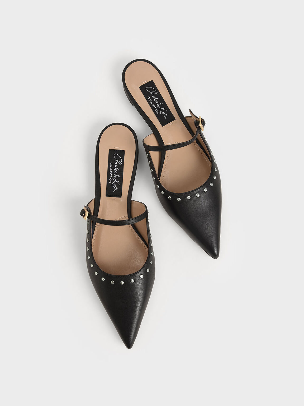 Studded Leather Mules, Black, hi-res
