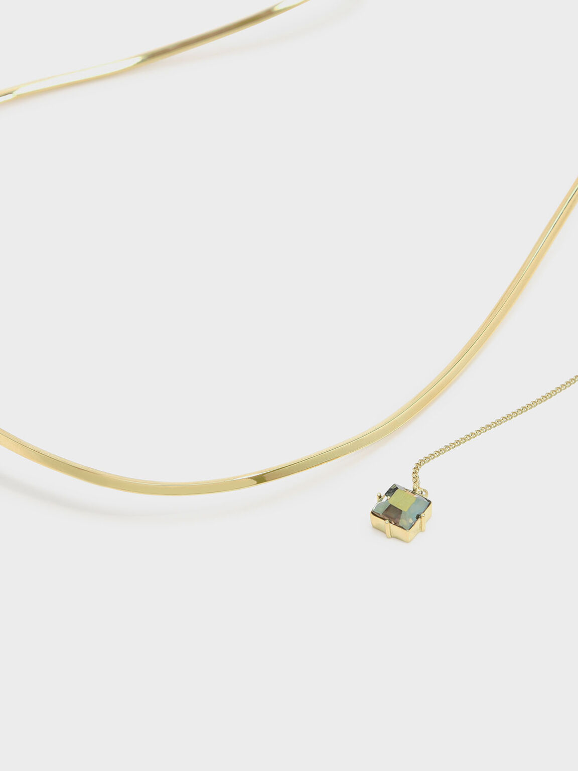 Crystal Charm Necklace, Gold, hi-res