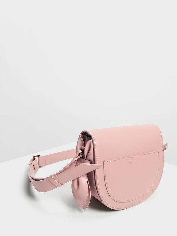 Knot Details Saddle Bag, Blush, hi-res
