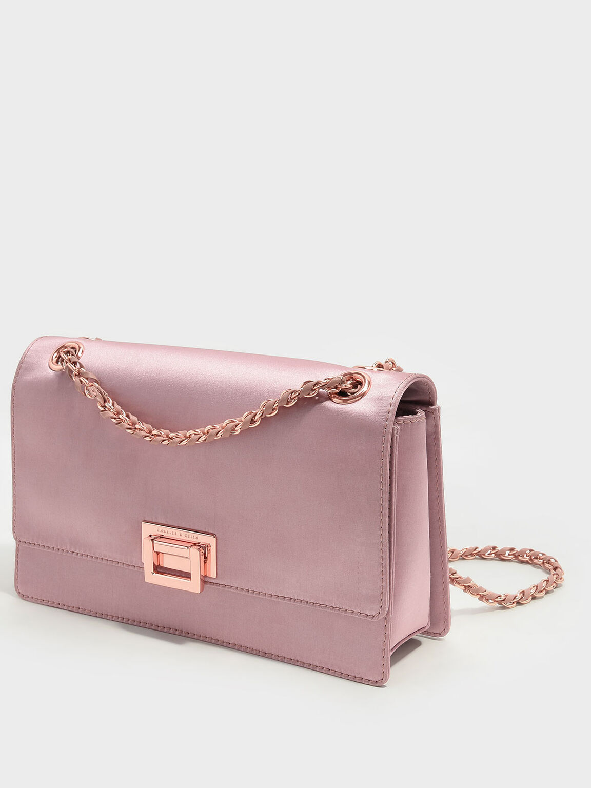 Push-Lock Shoulder Bag, Pink, hi-res