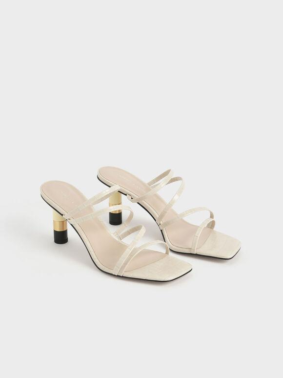 鱷魚紋細帶高跟拖鞋, 白色動物紋, hi-res