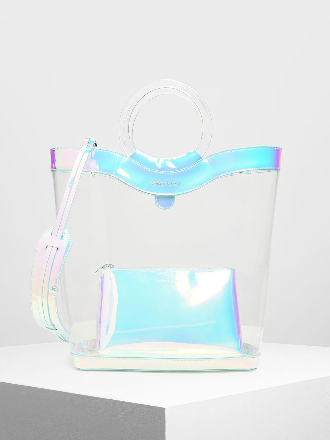 Acrylic Handle Transparent Tote Bag, White, hi-res