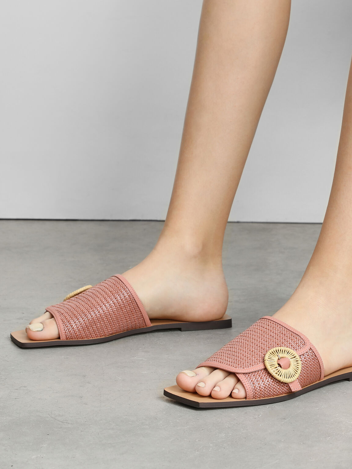草編圓扣方頭拖鞋, 嫩粉色, hi-res