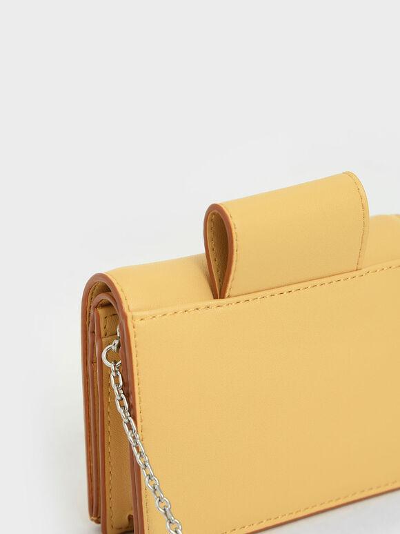 Top Tab Snap Button Wallet, Yellow, hi-res